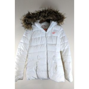 Hollister Fur Lined Hooded White Puffer Jacket